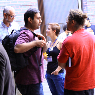 students and researchers socializing