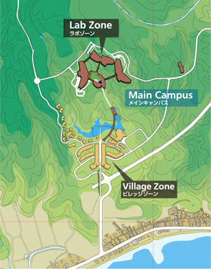 Illustration of the position and orientation of the Lab Zone and Village Zone in the context of the Main Campus.